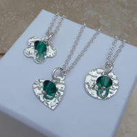 May Birthstone Necklace - Fine Silver Charm and Emerald Crystal Birthstone
