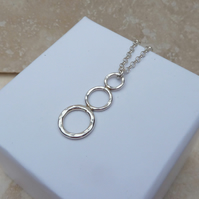 Sterling Silver Three 3 Ring Hoop Drop Pendant - PEN025