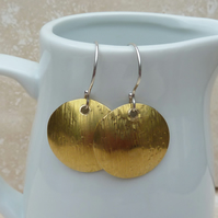 Hammered Brass Dome Earrings with Sterling Silver Hooks - MET013