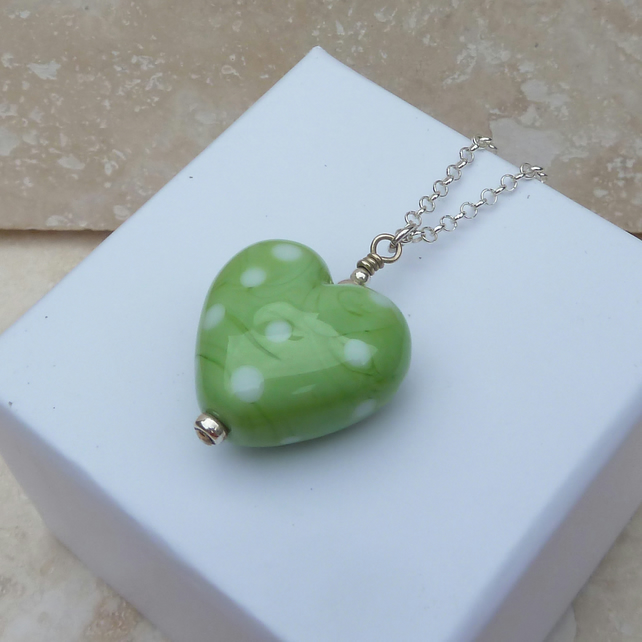 Green and White Spotty Heart Lampwork Glass and Silver Pendant - P0009