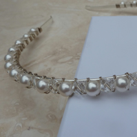 Diamond Clear Crystal and Glass Pearl Silver Tiara Headband - TIA002
