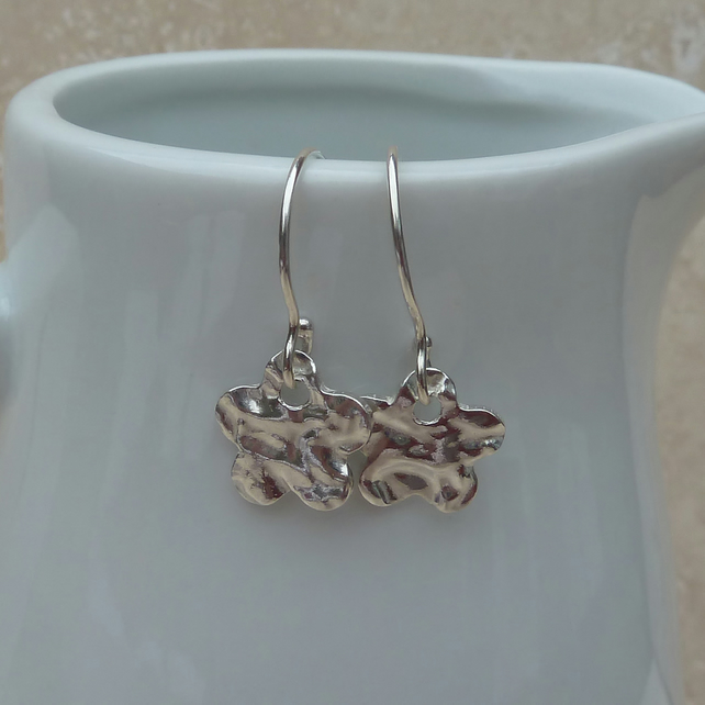 Fine Silver Hammered Flower Charm Earrings - SILV032