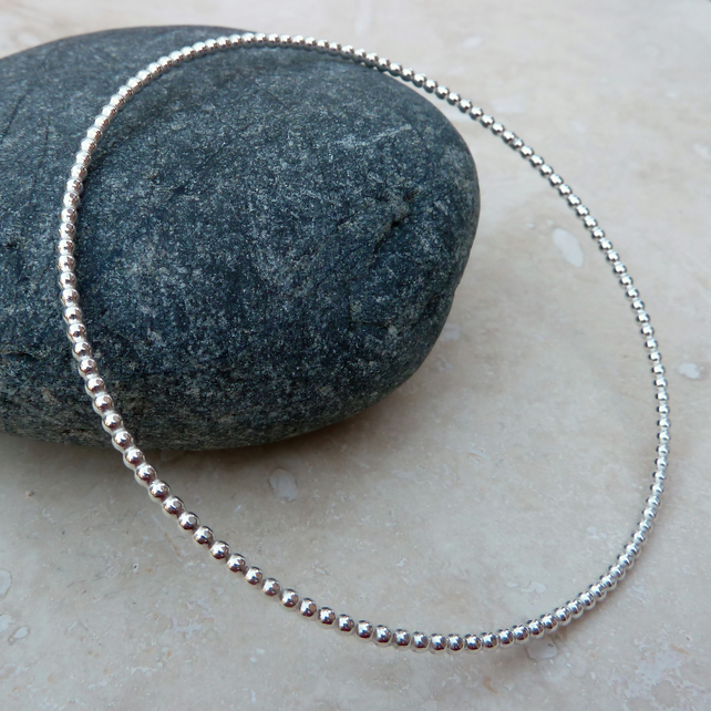 Sterling Silver 2mm Beaded Wire Bangle - BAN006