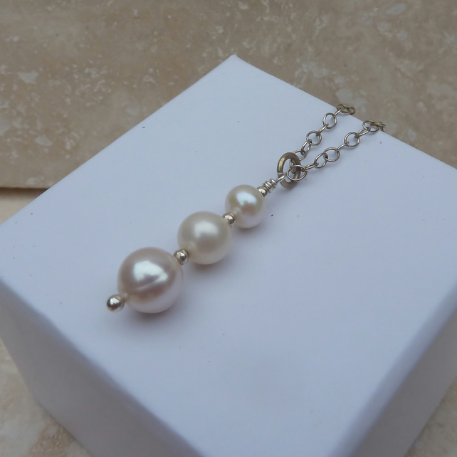 White Freshwater Pearl and Sterling Silver Drop Pendant - P0030