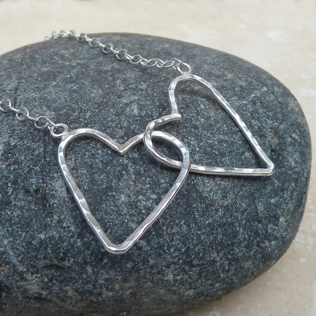 Sterling Silver Hammered Double 2 Heart Necklace - NEK005