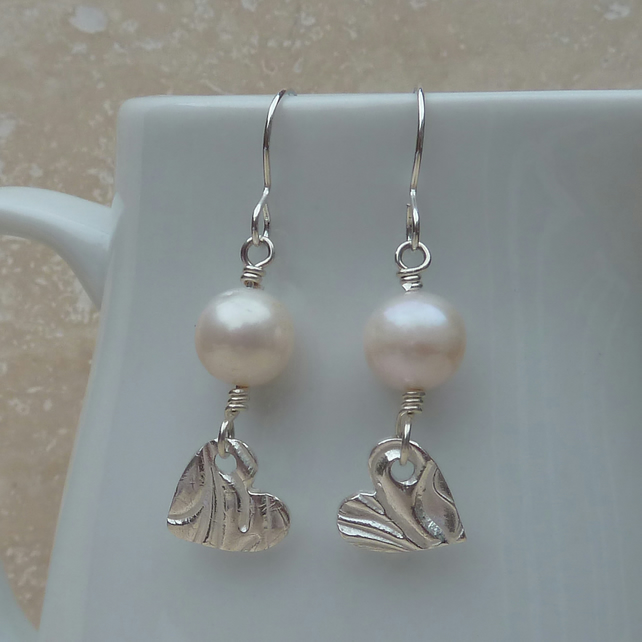White Freshwater Pearl and Fine Silver Heart Earrings - SILV010