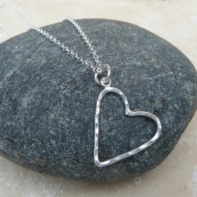 Sterling Silver Hammered Heart Pendant Necklace - PEN016