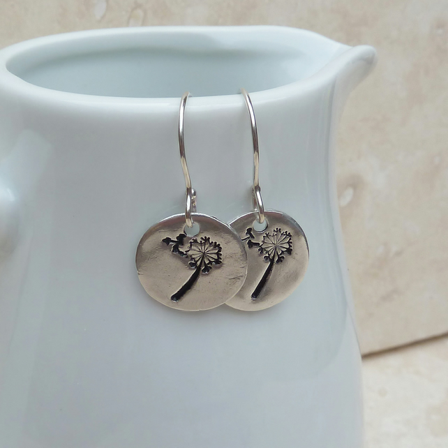 Sterling Silver Dandelion Wishes Round Charm Disc Earrings - SILV041
