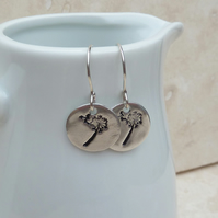 Fine Silver Dandelion Wishes Hand Stamped Drop Earrings - SILV041