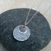 Sterling Silver 20 mm Double Disc Hammered Pendant Necklace - PEN019