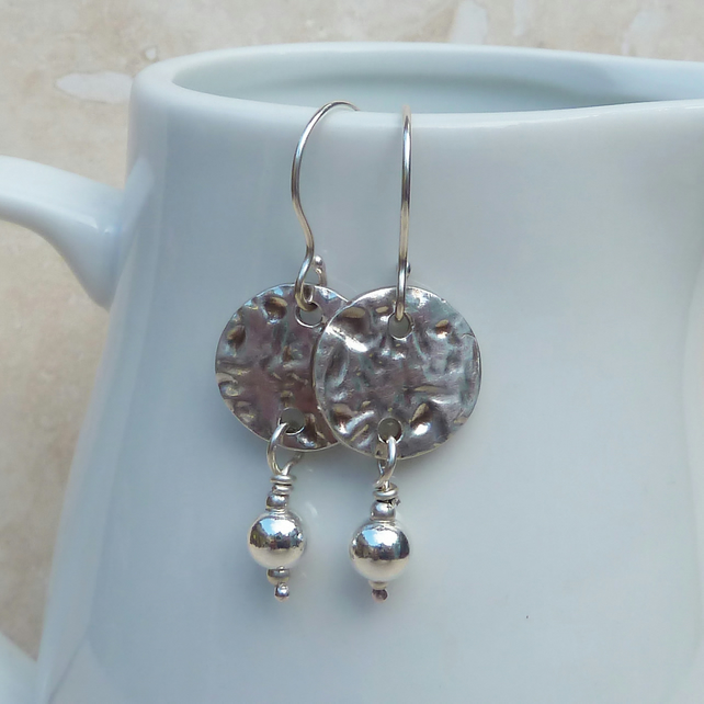 Sterling Silver Hammered Disc and Ball Drop Earrings - SILV039