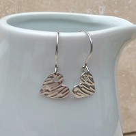 Sterling Silver Small Textured Heart Earrings - SILV033