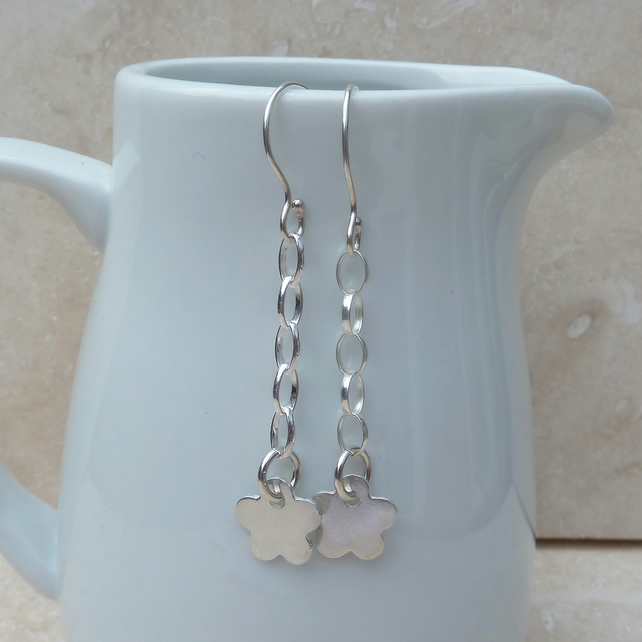 Sterling Silver Flower Drop Earrings - SILV042