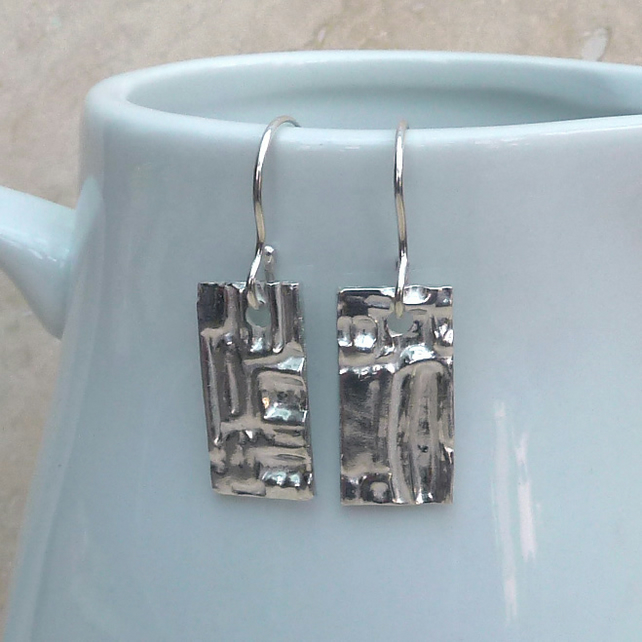 Sterling Silver Patterned Rectangle Earrings - SILV025