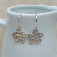 Fine Silver Hammered Flower Charm Earrings - SILV038