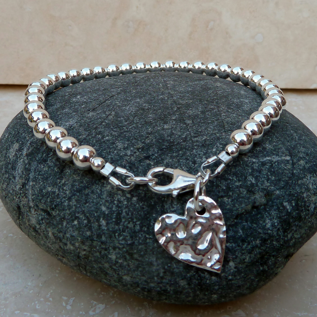 Sterling Silver Hammered Heart Charm Ball Bead Bracelet - BRC002