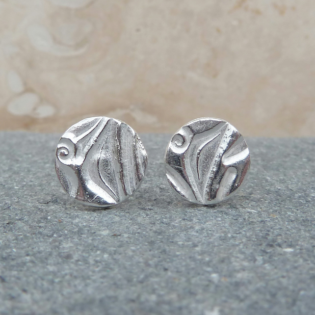 Small 8 mm Sterling Silver Patterned Stud Earrings - STUD048