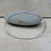 Sterling Silver Hammered Oval Bangle - BAN015