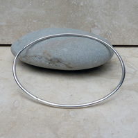 Sterling Silver Polished Oval Bangle - BAN016