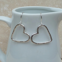 Sterling Silver Hammered Heart Earrings - SILV037