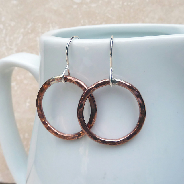 Copper and Sterling Silver Hammered Circle Ring Hoop Earrings - MET021