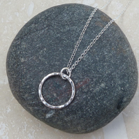 Sterling Silver Hammered Hoop Ring Circle Pendant Necklace - PEN026