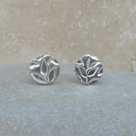 Fine Silver Leaf Patterned 8 mm Round Stud Earrings - STUD084
