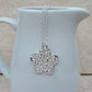 Sterling Silver Patterned Flower Pendant Necklace - PEN029