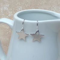 Sterling Silver Polished Star Charm Earrings - SILV044