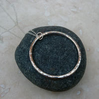 Sterling Silver Long Hammered Ring Necklace Pendant - PEN030