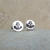 Fine Silver Hand Stamped Anchor Round Stud Earrings - STUD091 - Sterling Silver