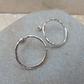 Large Sterling Silver Hammered Hoop Ring Stud Earrings - STUD089