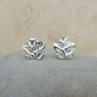 Fine and Sterling Silver Flower and Leaves Stud Earrings - STUD065