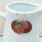 Copper and Sterling Silver Hammered Disc Earrings - MET023