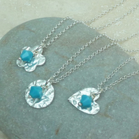 December Birthstone Necklace - Fine Silver Charm & Turquoise Crystal Birthstone