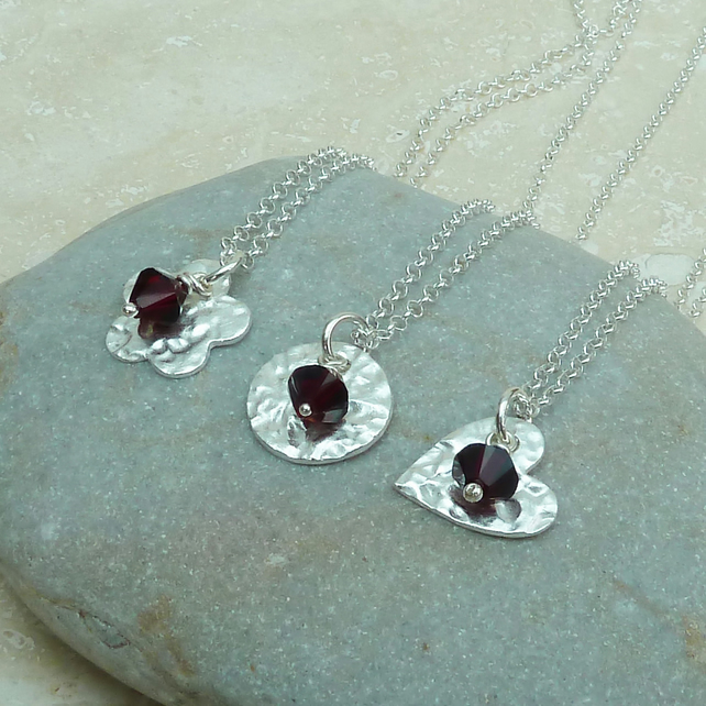 January Birthston Necklace - Fine Silver Charm and Garnet Crystal Birthstone