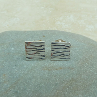 Fine Silver Patterned Square Stud Earrings - STUD060 - Sterling Silver, Gift