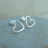 Sterling Silver Heart Stud Earrings - STUD095