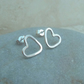 Sterling Silver Heart Outline Hoop Stud Earrings - STUD095