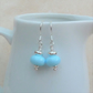 Blue Lampwork Glass Bead and Sterling Silver Earrings - GEM059