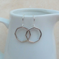 Sterling Silver Octagon Shaped Hoop Earrings - SILV045
