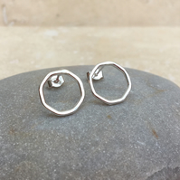 Sterling Silver Octagon Geometric Hoop Stud Earrings - STUD094