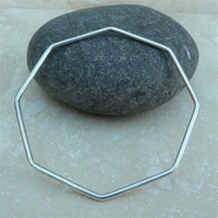 Sterling Silver Polished Octagon 2 mm Stacking Bangle - BAN020