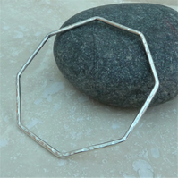 Sterling Silver Hammered Octagon Bangle - BAN021 - Stacker, Stacking, Skinny