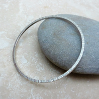 Sterling Silver 2mm Square Wire Hammered Texture Round Bangle - BAN022