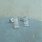 Sterling Silver Rectangle Hammered Textured Stud Earrings - STUD097