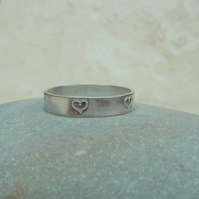 Sterling Silver 4 mm Ring Band with Hand Stamped Heart Detail - RNG027