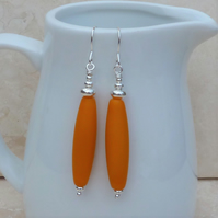 Long Orange Glass Bead and Sterling Silver Earrings - GEM064