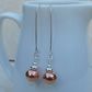 Long Copper Ball Earrings with Sterling Silver Hooks - MET024