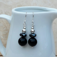 Black Onyx, Hematite and Sterling Silver Beaded Earrings - GEM066